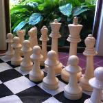 Giant chess set in games room