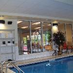 Small gym overlooks pool