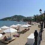 Santa Eularia beach - had posh umbrellas and deck chairs for hire