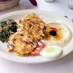 chicken kabob with hummus