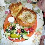 clam chowder bread bowl and salad