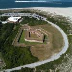 Civil war era Fort Macon as seen from a CCH helitour flight.
