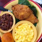 fried pork chops, speckled butter beans, Mac & Cheese, cornbread