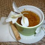 Evening desert: Green Tea Creme Brûlée with a White Ginger Flower