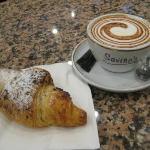 Caffe Mocha and a chocolate croissant. YUM