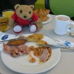 Enjoying the hotel breakfast
