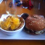 Awesome burger + Homemade Scalloped Potatoes!!