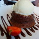 chocolate sponge pudding with vanilla ice cream