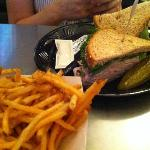 Roasted Turkey on Wheat...pickles are yummy too.