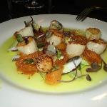 SEARED SCALLOPS with fresh coconut, cucumber and avocado salad, curried mango dressing