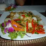 Fried fish with ginger - special made for us. Excellent service.