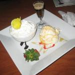 Apple bread pudding and vanilla ice cream with baileys/honey