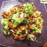 Chanterelle Mushrooms on salad. (Eierschwammerln / Pfifferlinge)