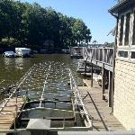 The boat house and slips
