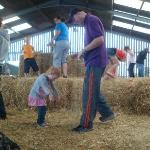 the hay bales in the barn
