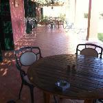 Patio area adjoining next doors patio