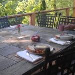 Breakfast on the deck overlooking the river. Heaven!
