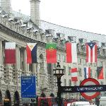 Country Flags Along Street at Piccadilly Circus