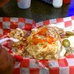 The 2 lb. Titanic Dog - Chilli, Slaw, Jalapenos, Cheese, Onions, Mustard, Ketchup, ...