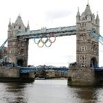 Olympic Rings Hanging from Tower Bridge