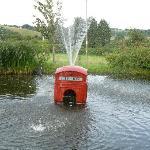 Red telephone box fountain