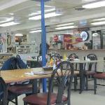 The no-frills dining room