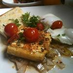 vegetarian breakfast - poached eggs, polenta with goatcheese, cheery tomatoes