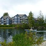 View of Water's Edge Resort from the wharf.