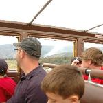 Passengers viewing a forest fire from bus