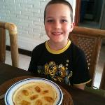 banana pancakes for breakfast, my son's fav