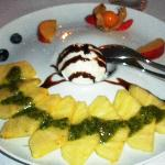 "Ananas with ""pesto di menta"" and coconut icecream"