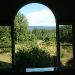 Looking out the window in the main building
