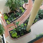 View down to lobby from our room, inside