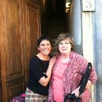 Pamela and Val at the front door