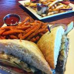 veggie sandwich and sweet potato fries