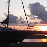 Sunset over the estuary opposite hotel