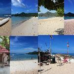 Stranden vid First Bungalow och vår beach bungalow. Även Monkeybar där man kunde äta enklare mat
