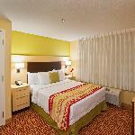 One Bedroom Suite Bedroom with Queen Bed, Closet, TV and Storage