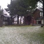 Cabañas nevando