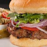 Cheddar-Jalapeno Burger with Italian Pasta Salad