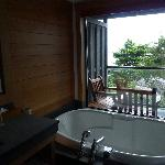 The most amazing bathroom in room 210.The view from the bath is a wow. There is also a lovely sh