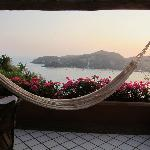 The hammock on the balcony and the view of the bay from our hotel room