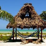 Palapa with hammocks for a shady place on the beach