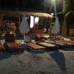 sun loungers, would be better with white fitted sheets but they had beach towels
