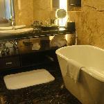 clean bathroom with deep tub
