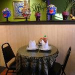 Table and decorations: nice tablecloths