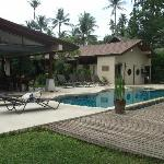 Dining area, pool and grounds