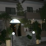 front of the hotel late at night