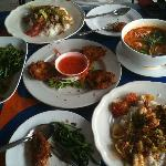 Prawn cakes, seafood soup, morning glory, thai curried prawns & stir fry