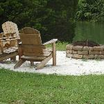 Firepit and waterside chairs